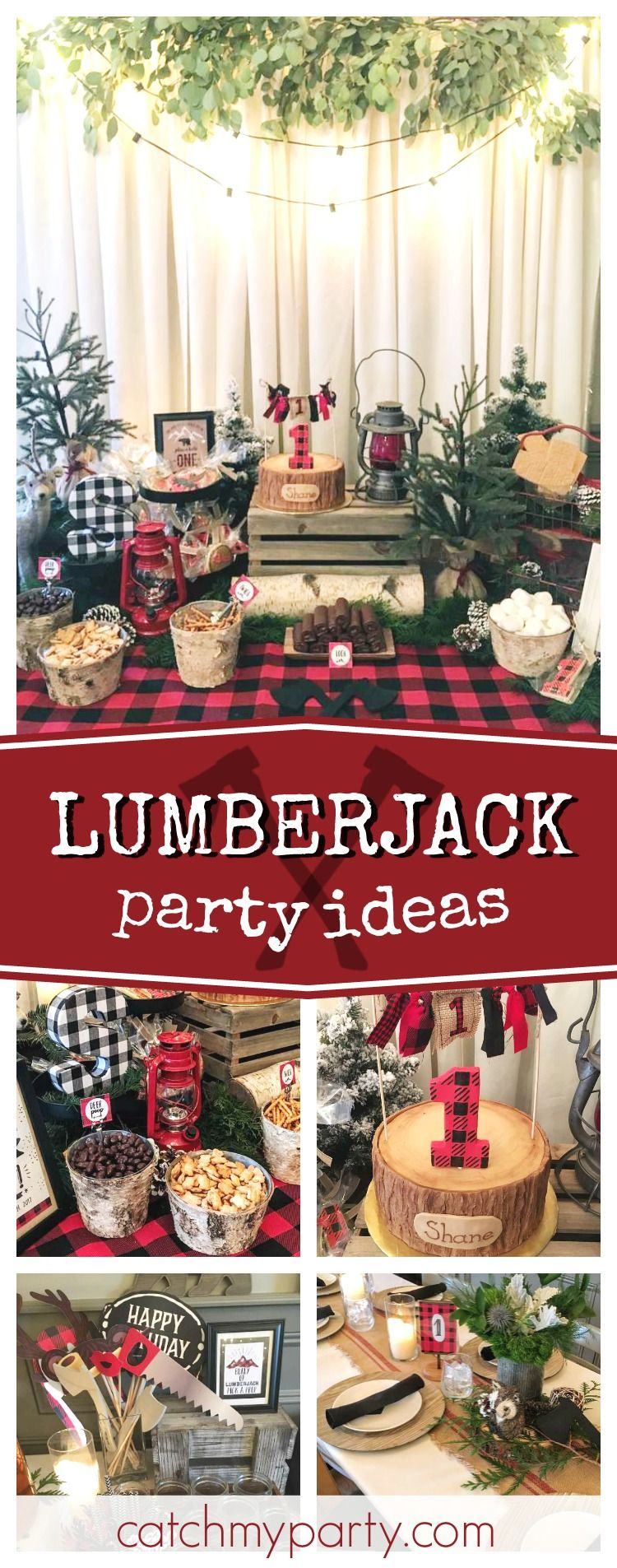 Take a look at this fun Lumberjack 1st birthdayparty! The log birthday cake is so cool!! See more party ideas an dshare yours at CatchMyParty.com  #lumberjack #1stbirthday #boybirthdayparties
