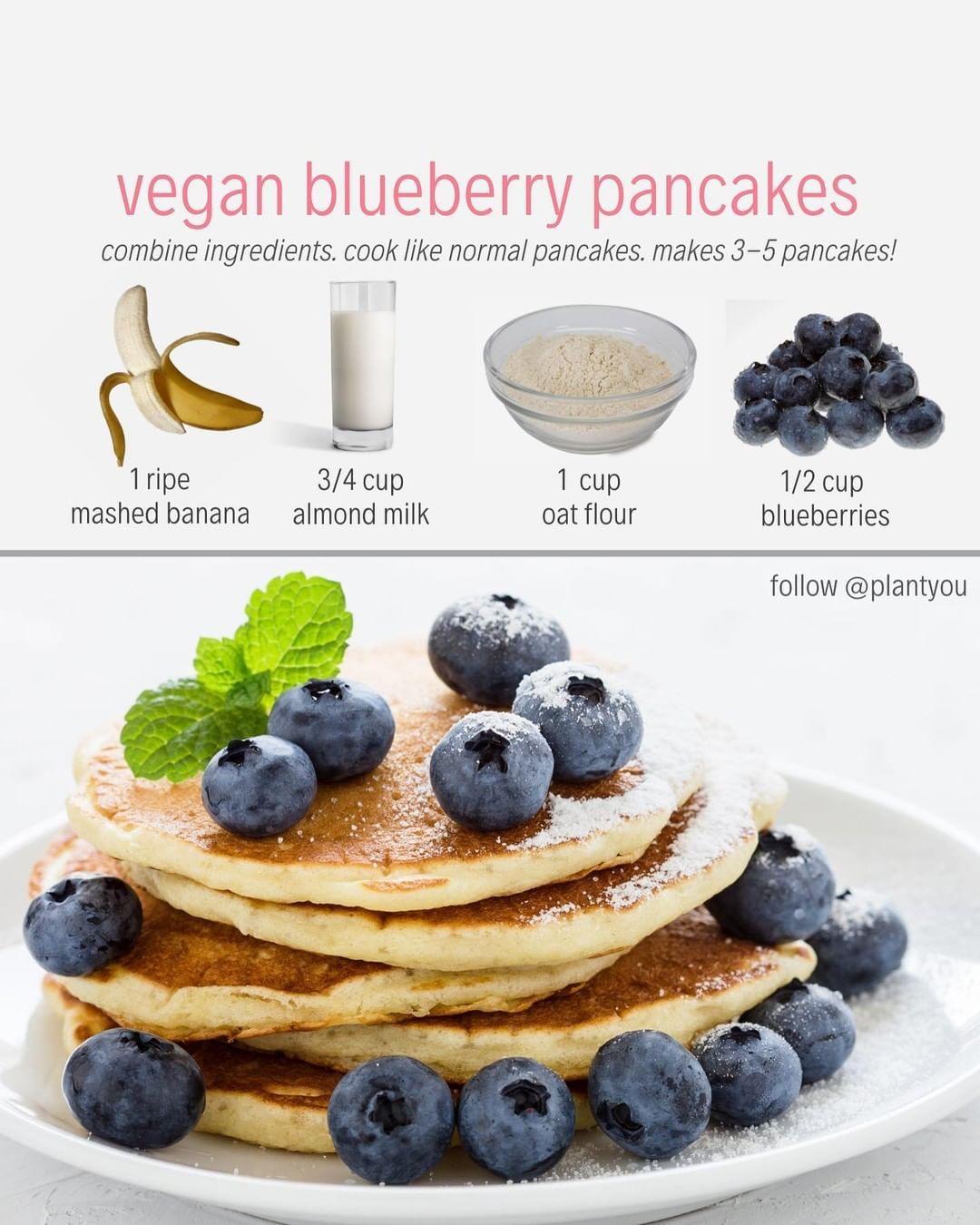 Vegan Fitness Nutrition Info On Instagram Follow Plantyou Blueberry Pancakes A Healthier Twist O Vegan Recipes Plant Based Plant Based Pancakes Food