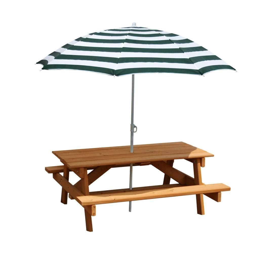 Gorilla Playsets Children S Picnic Table With Umbrella Brown