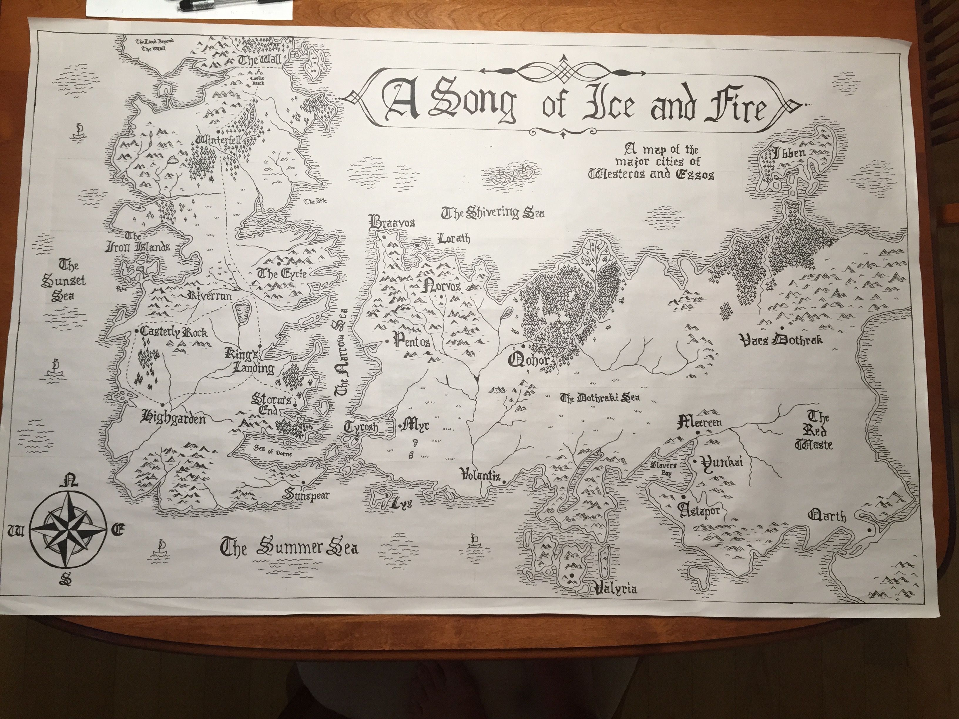 A Song Of Ice And Fire My Map Drawing Of The Major Cities Of