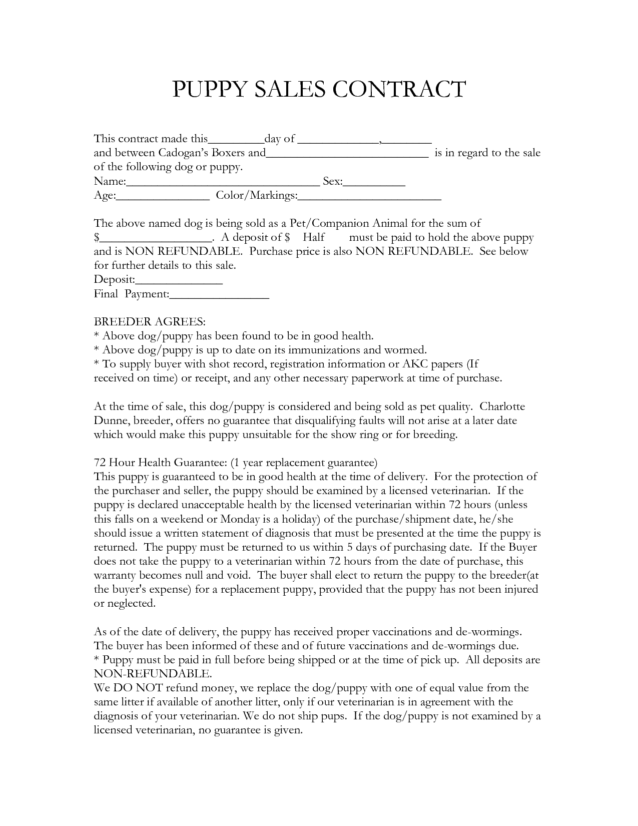 contract template – Ms Word for Sale