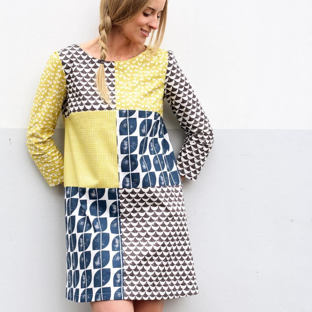 Lotta Jansdotter's patchwork Esme dress using fabrics from Lotta Jansdotter's new Hemma fabric collection @windhamfabrics #Esmedress #Lottajansdotter #lottaeverydaystyle