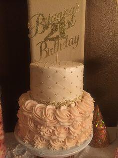 Cool Pink And Gold Victorian 21St Birthday Cake Geburtstagstorte Funny Birthday Cards Online Amentibdeldamsfinfo