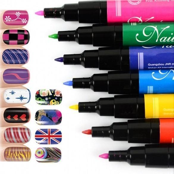 Nail Art Pen Painting Design Tool for UV Gel Polish Made Easy 12 PCs ...