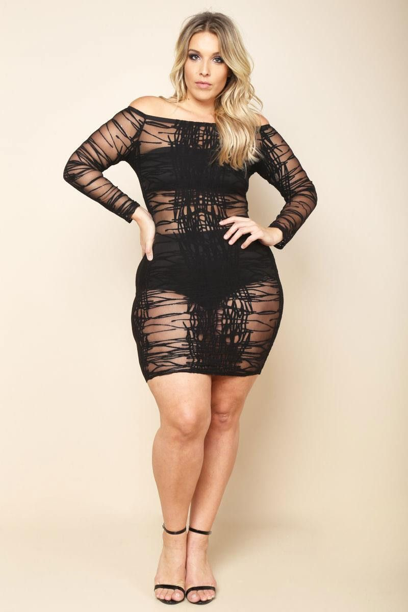 Black Club Sheer White Plus Size Bodycon Dress | Curvy | Plus size ...