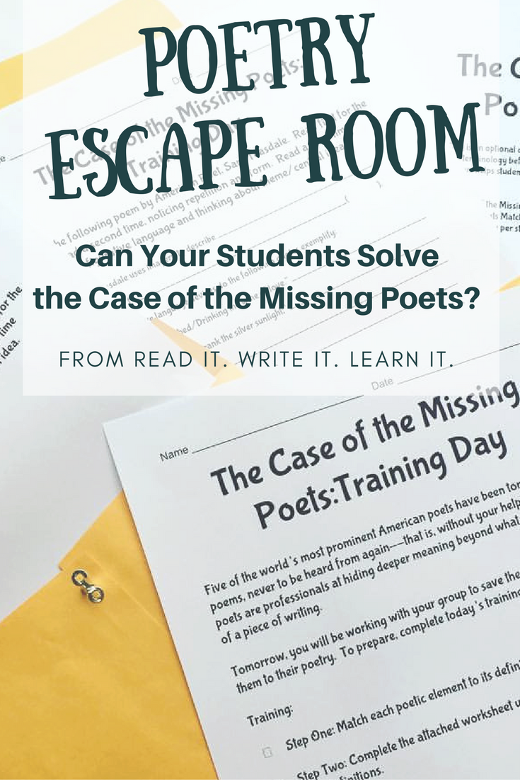 Poetry Escape Room Breakout Room For Grades 6 8 Classic Poems