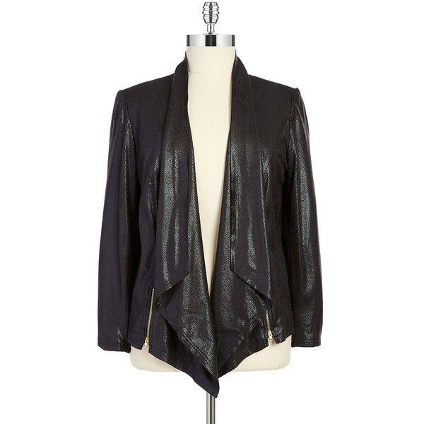 Tahari Arthur S. Levine Plus Polly Leatherette Jacket (£42) ❤ liked on Polyvore featuring outerwear, jackets, black, plus size, leatherette jacket, zipper jacket, pleather jacket, zip jacket and tahari by arthur s. levine