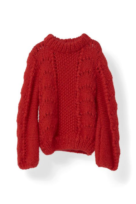 585c85bd5d6d3 Grosses Mailles · Points · Tricot Moulé · Keine Anleitung - Nur Inspiration  - Ganni - The Julliard Mohair Pullover, Fiery Red