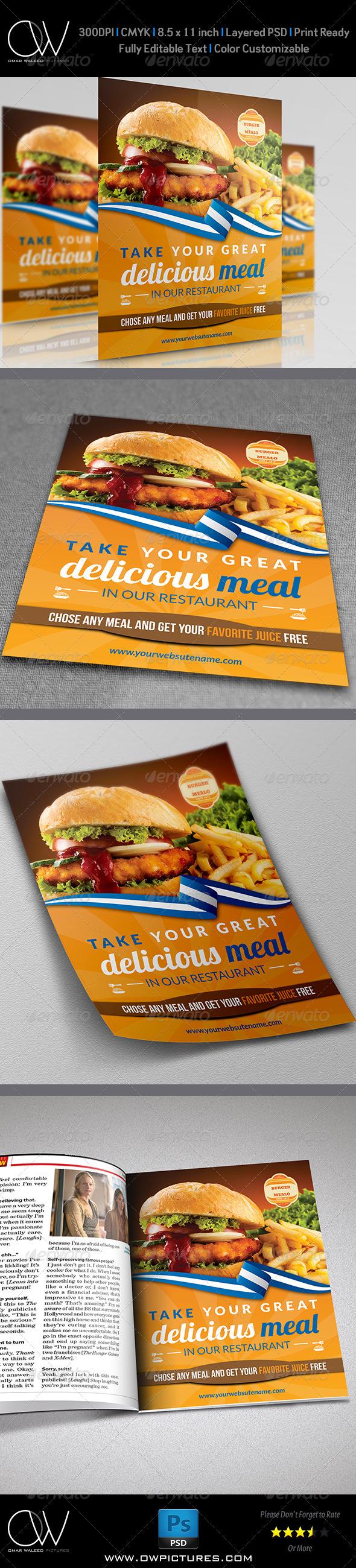 Burger Restaurant Flyer Template   Restaurante y Hamburguesas