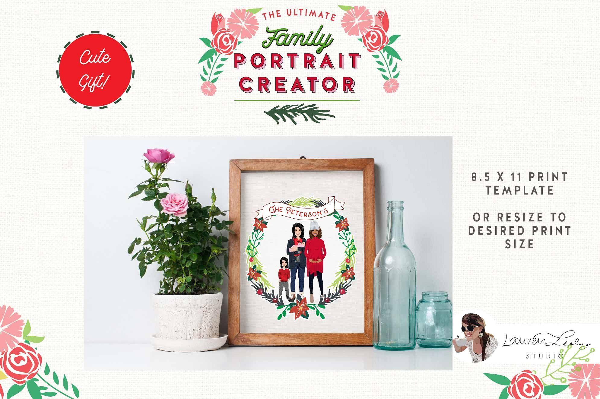 Christmas Family Portrait Creator Christmas Card Template Family Christmas Holiday Illustrations