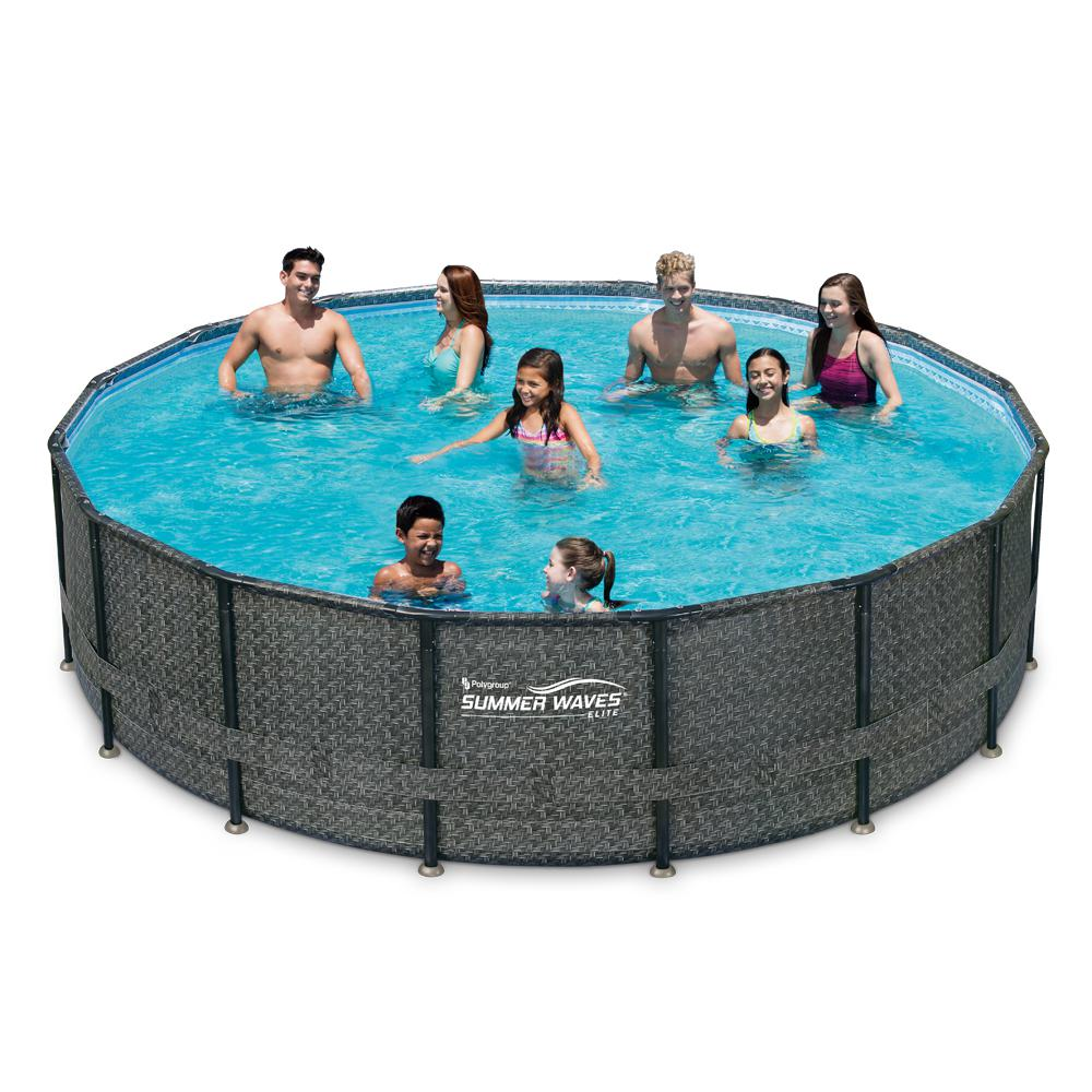 Pool Mit Filter Und Abdeckung Summer Waves Elite 15 Ft Round 48 In Deep Elite Metal Frame Pool