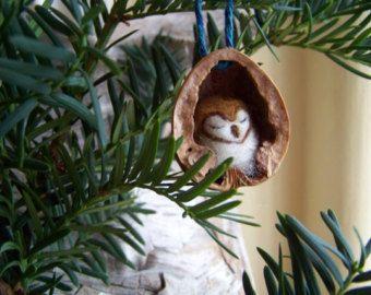 needle felted owl in walnut heirloom christmas ornament. Black Bedroom Furniture Sets. Home Design Ideas
