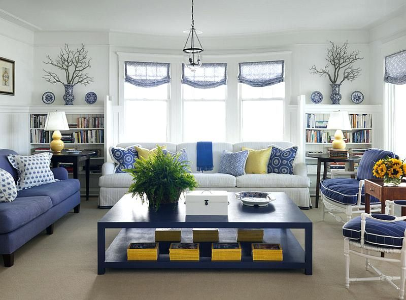 Navy Blue Yellow And Grey Bedroom View In Gallery Cottage Style Living Room In Blue And White Wit Yellow Living Room Cottage Style Living Room Blue Living Room
