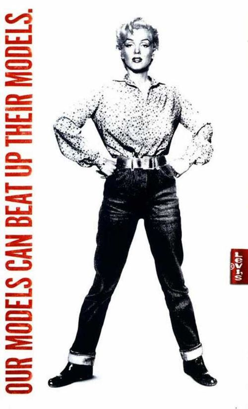 Marilyn Monroe (Gentlemen Prefer Blondes, Niagara) in a Levis Campaign. She was a big fan of the jeans brand. This was an effort to combat the competition.