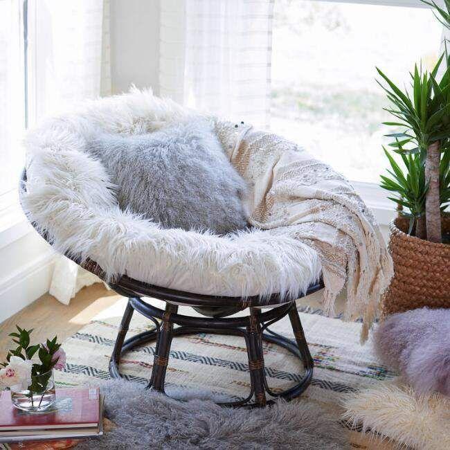Ivory Mongolian Faux Fur Papasan Cushion ad  Boho Style