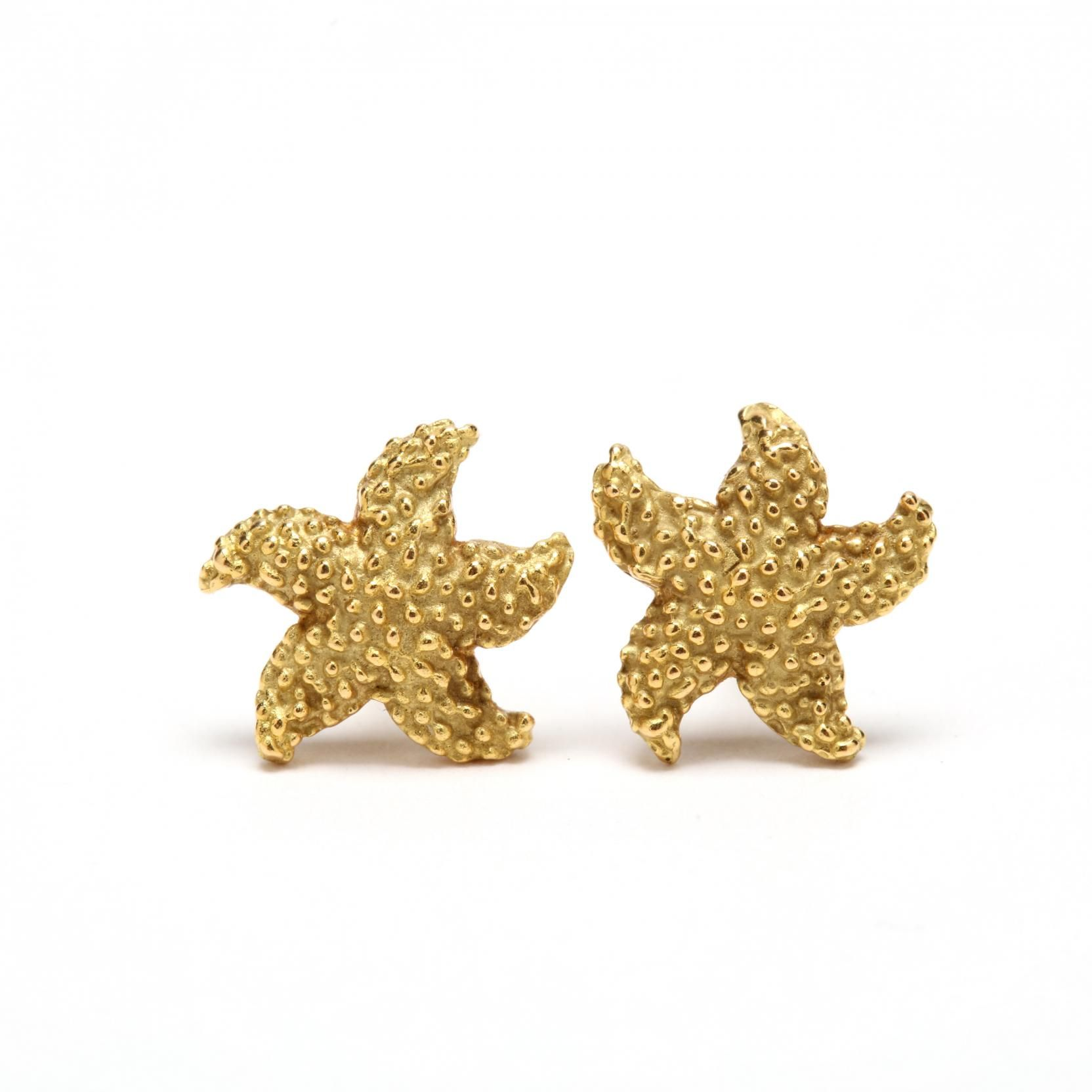 starfish earrings gold white studs stud pin