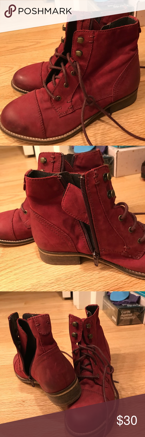 Steve Madden boots Lace up and zipper. Never worn Steve Madden Shoes Combat & Moto Boots