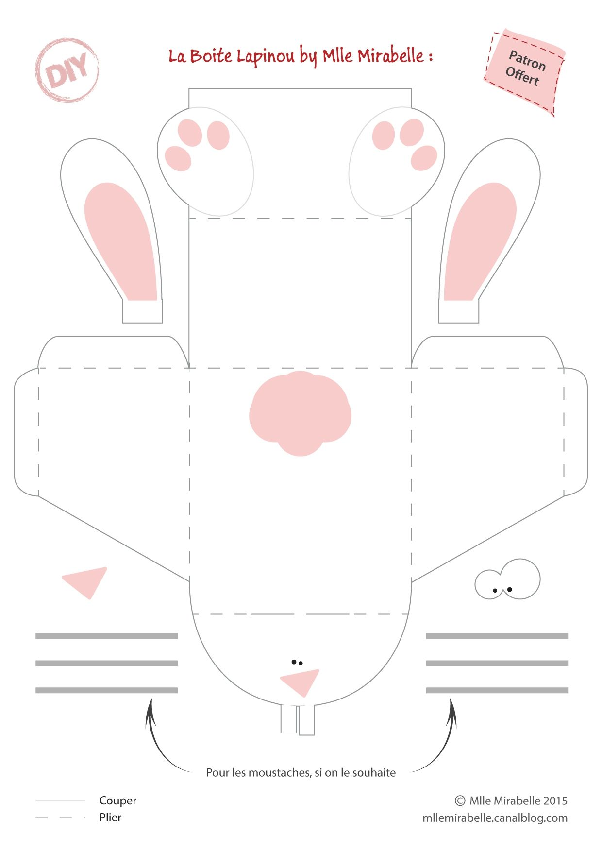 Patron boite panier Lapin  Pasen  Pinterest  Tables and DIY and ...