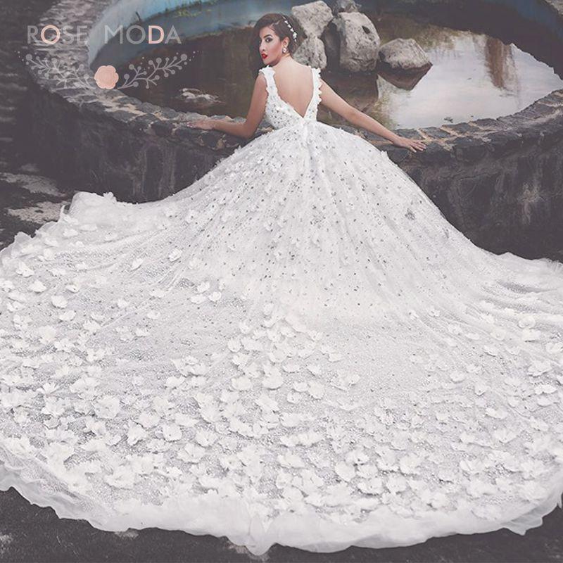 Luxury Bling 3d Flowers Princess Wedding Dress With 3m Royal Train
