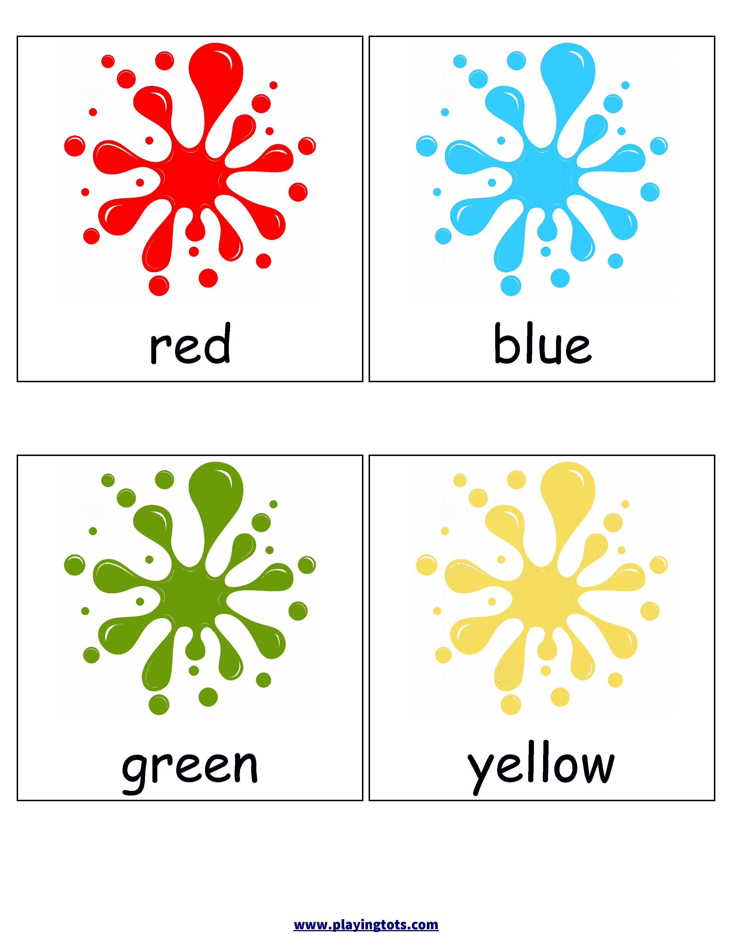 Free Printable Colors Flash Cards