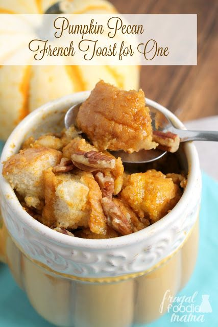 Transform a couple of pieces of leftover bread or rolls into this quick and easy Pumpkin Pie French Toast for One. Ready in around 8 minutes!