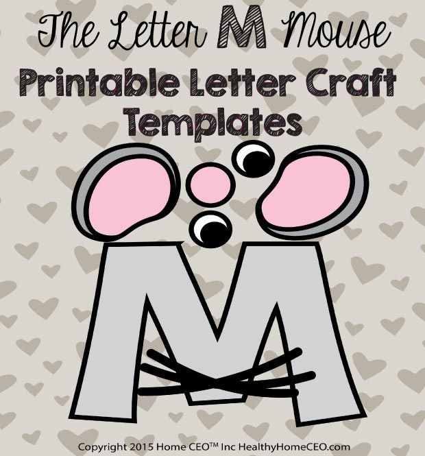 the letter m mouse printable letter craft template by home ceo in color and black