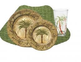 16PC Tropical Majestic Palm Melamine Outdoor Dinnerware Set for 4 ...