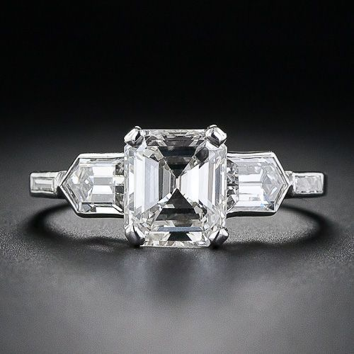 Image result for emerald cut diamond ring side stones pinterest