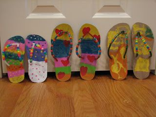869721f4ed08 Ramblings of a Crazy Woman  Flip Flop Craft Could use for playroom  decoration. Rote counting by 2