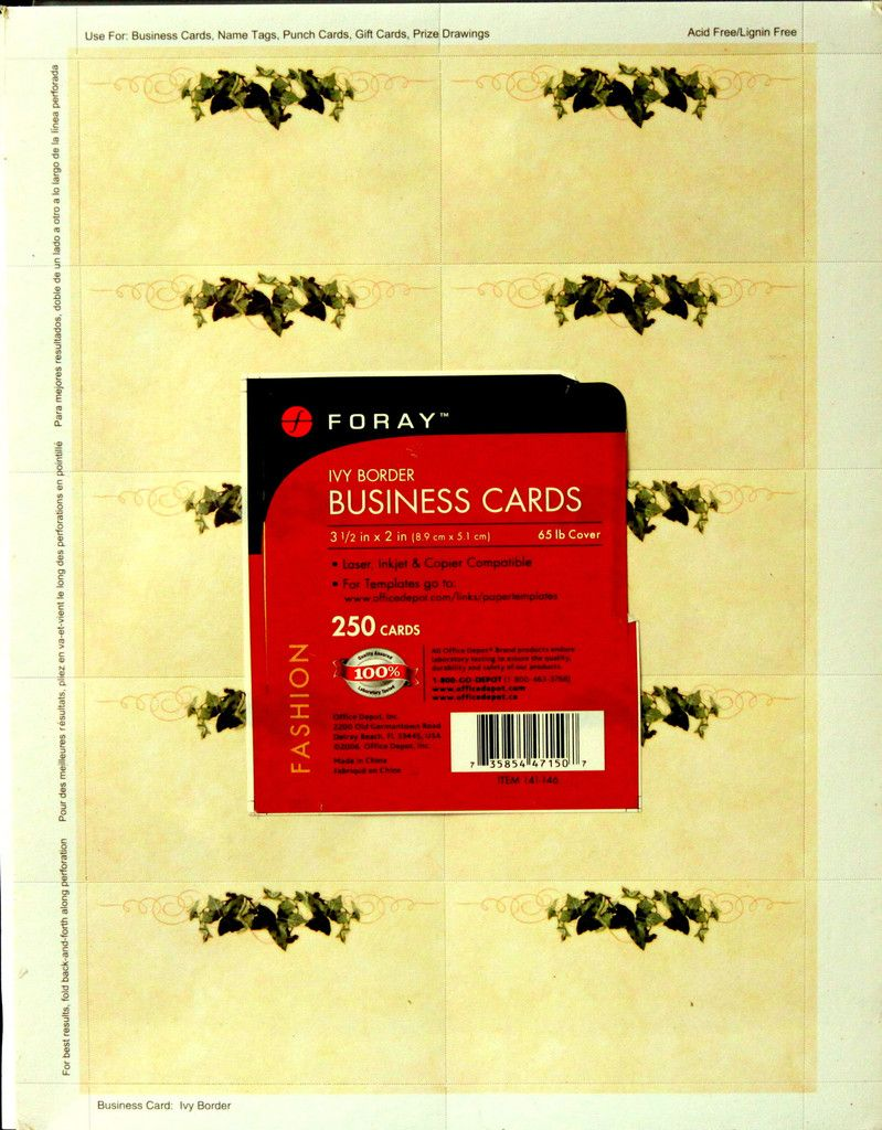 foray ivy border 250 count business cards ivy business cards and