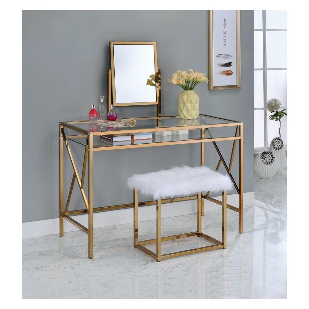 Burdette contemporary vanity table set light gold homes inside