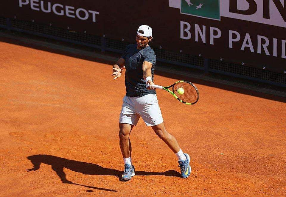 Rafa Nadal's first practice session at Rome Source : Getty