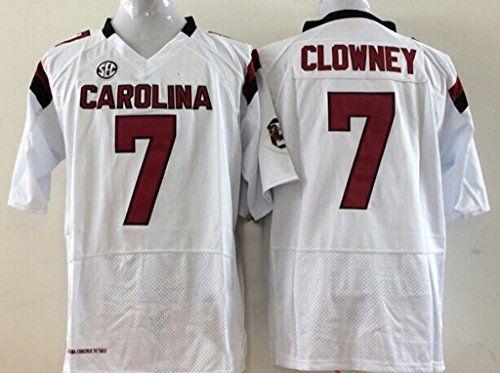 Men\u0027s South Carolina Gamecock NO7 Clowney White Football Jerseys