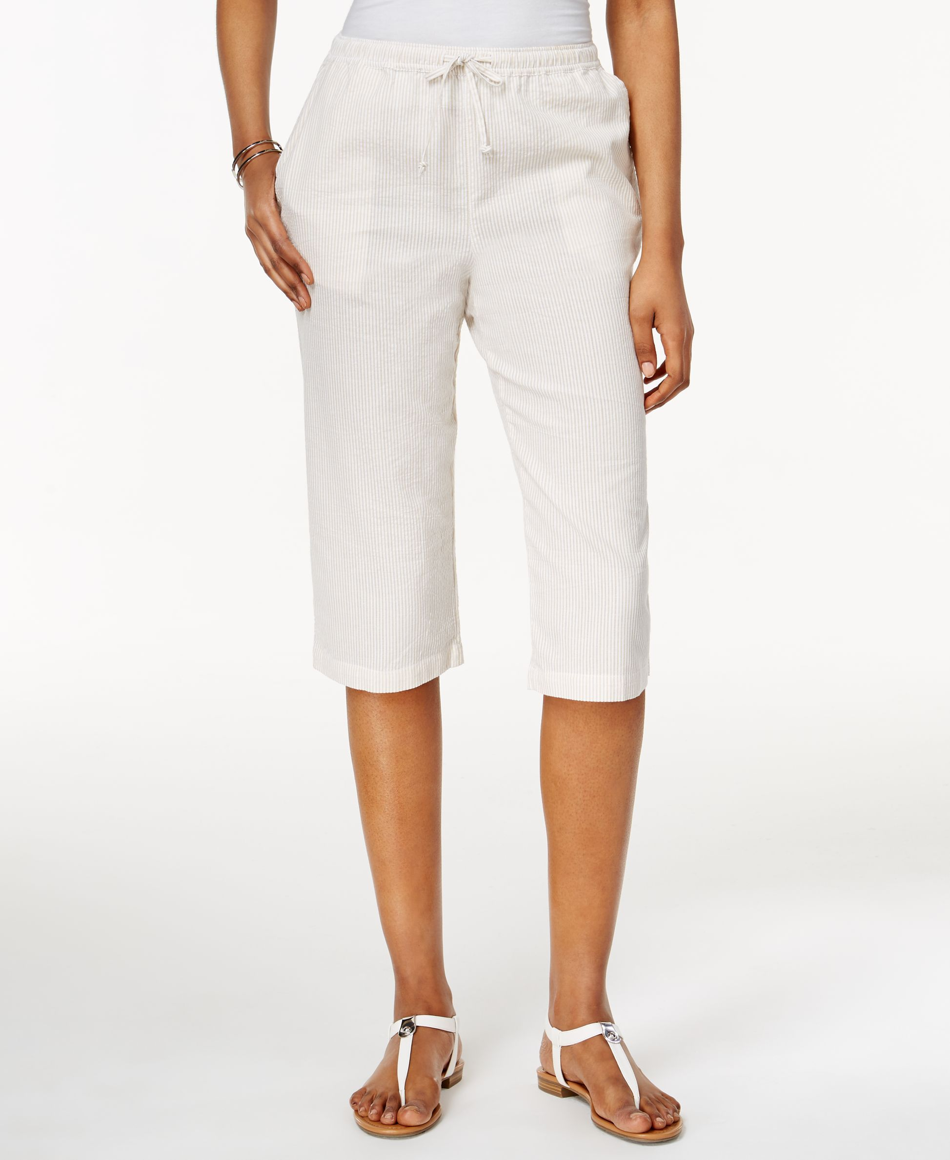 Karen Scott Petite Drawstring Seersucker Capri Pants, Only at ...