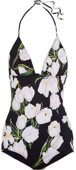 Dolce & Gabbana - Printed Halterneck Swimsuit - Black