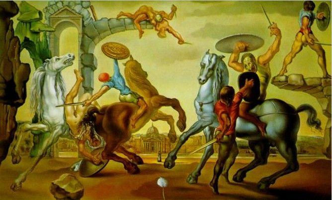 Salvador Dali - Battle Over A Dandelion, 1947