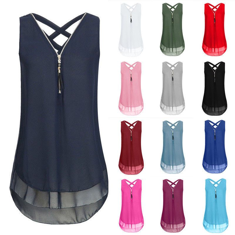 9829d8d3f7710 Sexy Womens Summer Chiffon Sleeveless Vest T Shirt Blouse Ladies Tops Plus  Size  Unbranded  Blouse  Casual