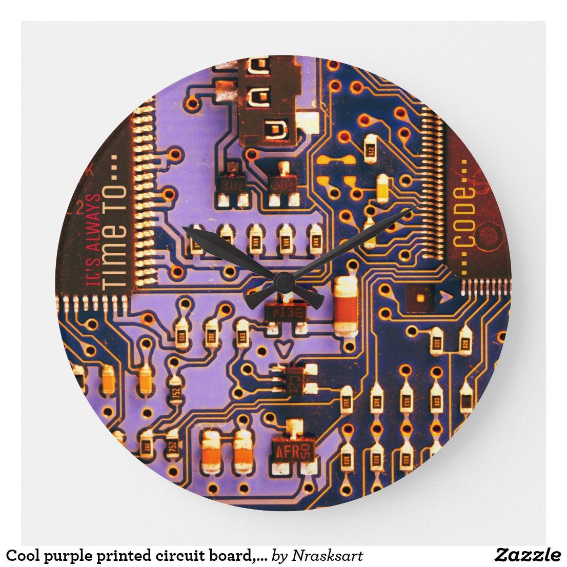 Cool Purple Printed Circuit Board Electronic Pcb Large Clock Zazzle Com In 2020 Custom Clocks Circuit Board Large Clock