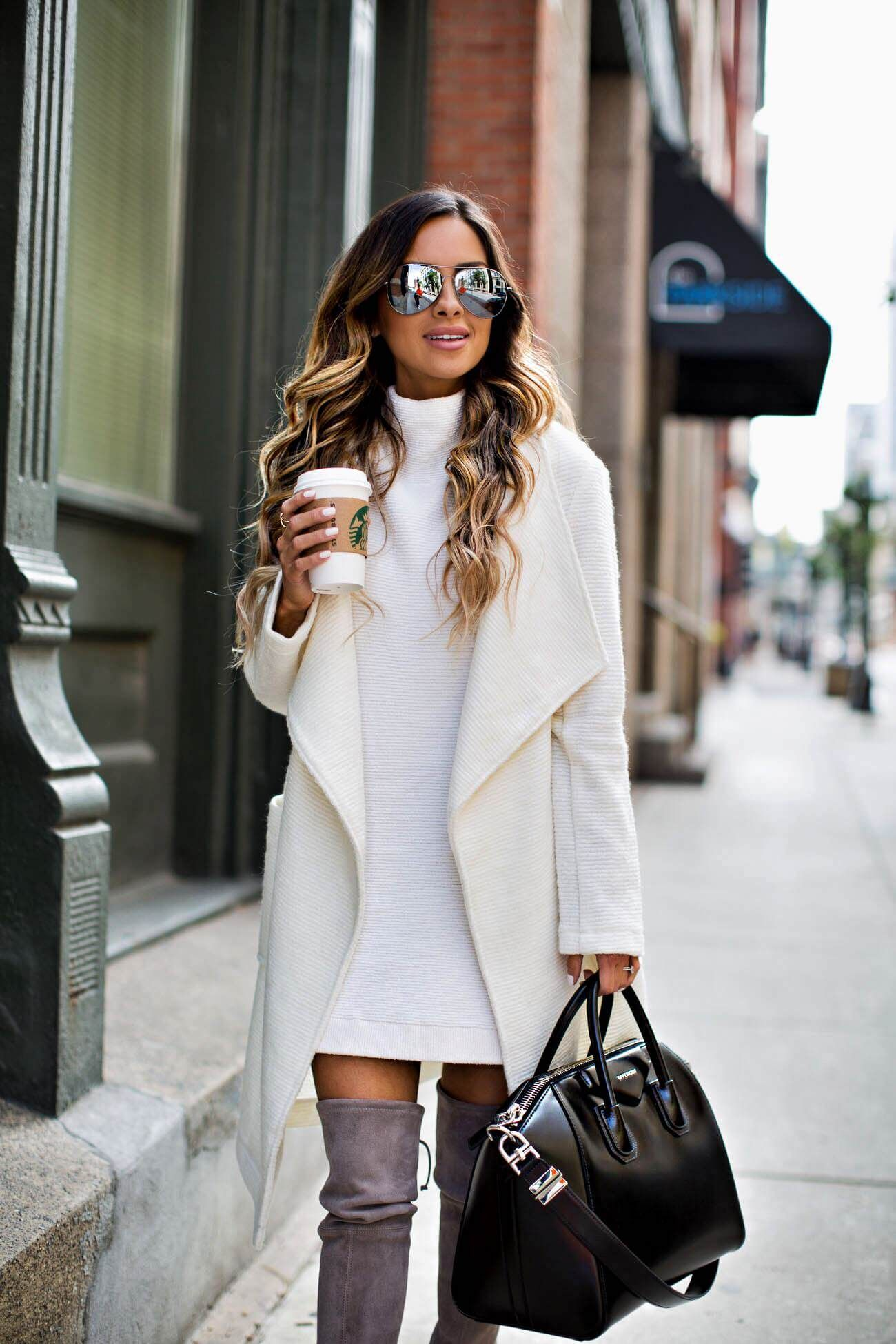 mia mia mine wearing a white sweater coat by cupcakes and cashmere ...