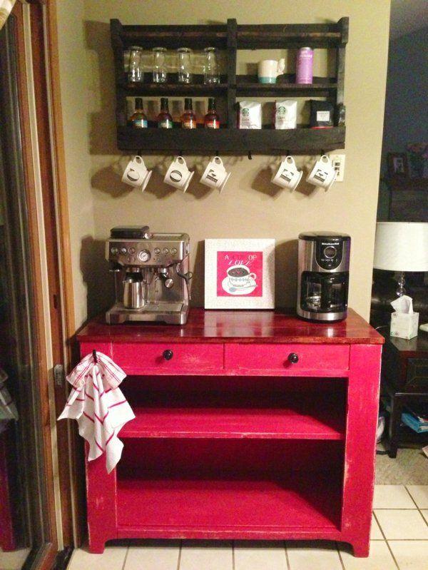 Kaffeebar in Ihrer Küche gestalten rot bemalt regal Kitchens - regale für die küche