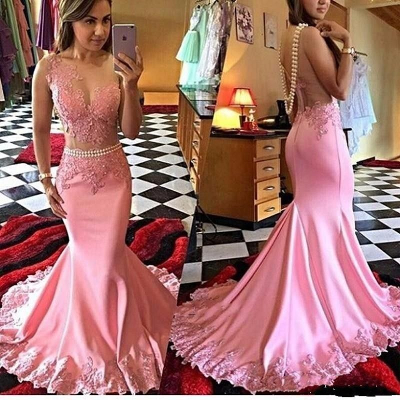 Pink Mermaid Long Prom Dresses 2016 Lace African Satin Women Formal Evening Gowns vestidos de gala ZHP764-in Prom Dresses from Weddings & Events on Aliexpress.com | Alibaba Group