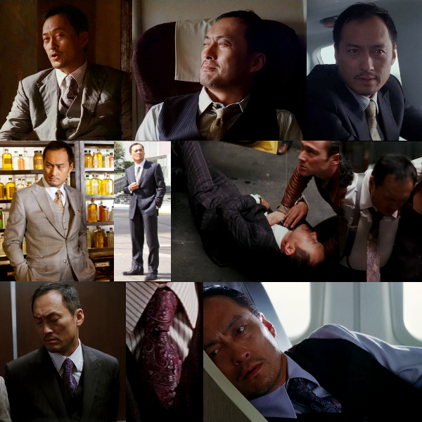 Inception Fashion Post #17  So Arthur is not the only one to get around in three-piece suits. In the film Saito only wears a two-piece suit twice: we catch a glimpse of the navy in reality and then again while checking out Yusuf's dream level, and he wears the black striped one in the first level while on the mission.