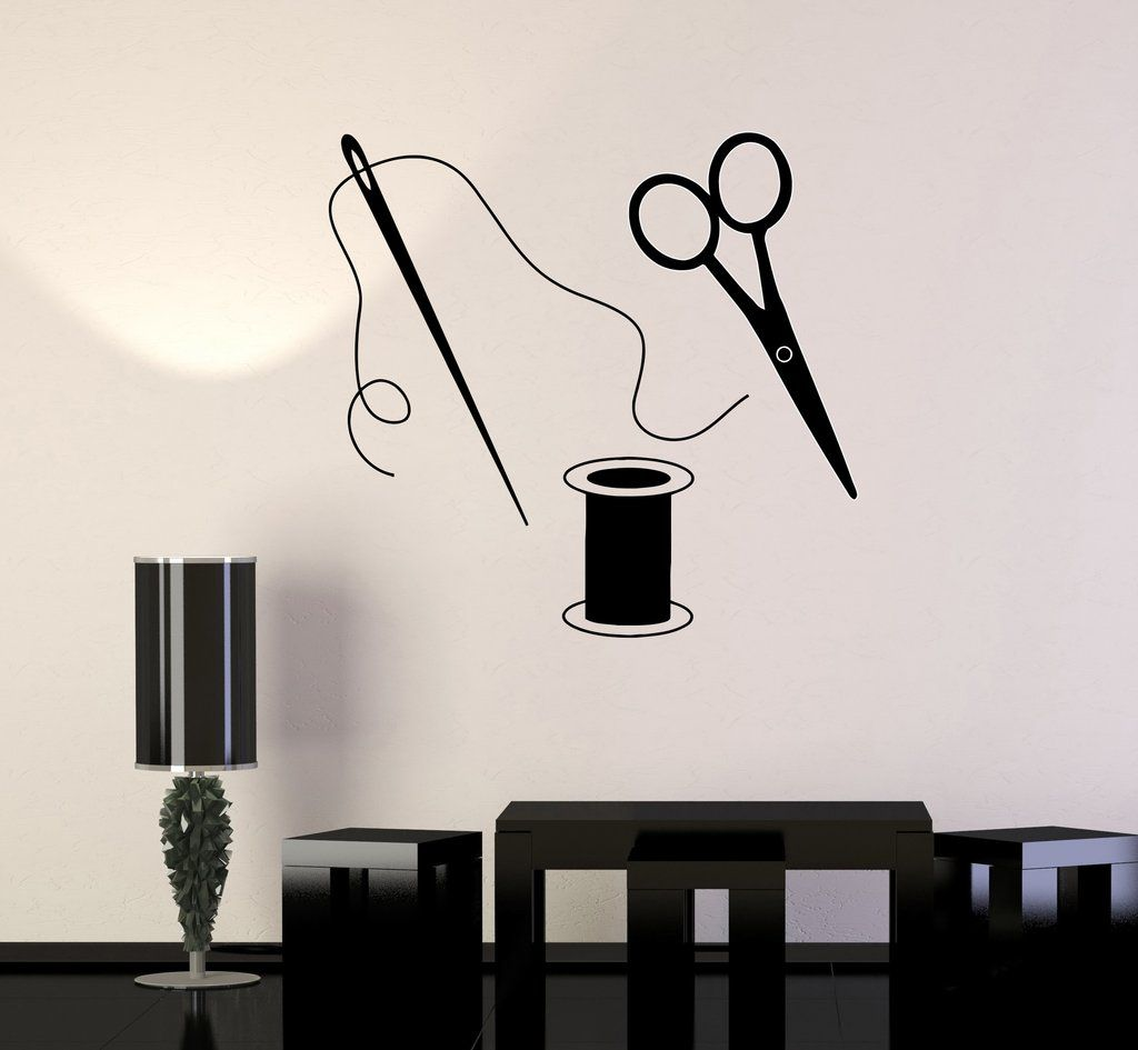 Vinyl Wall Decal Fashion Designer Atelier Sewing Tailor Stickers