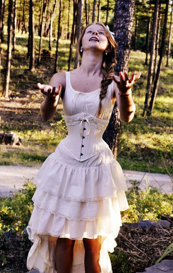 Vintage Style viktorianischen Brautkleid mit Korsett alle natürliche ...