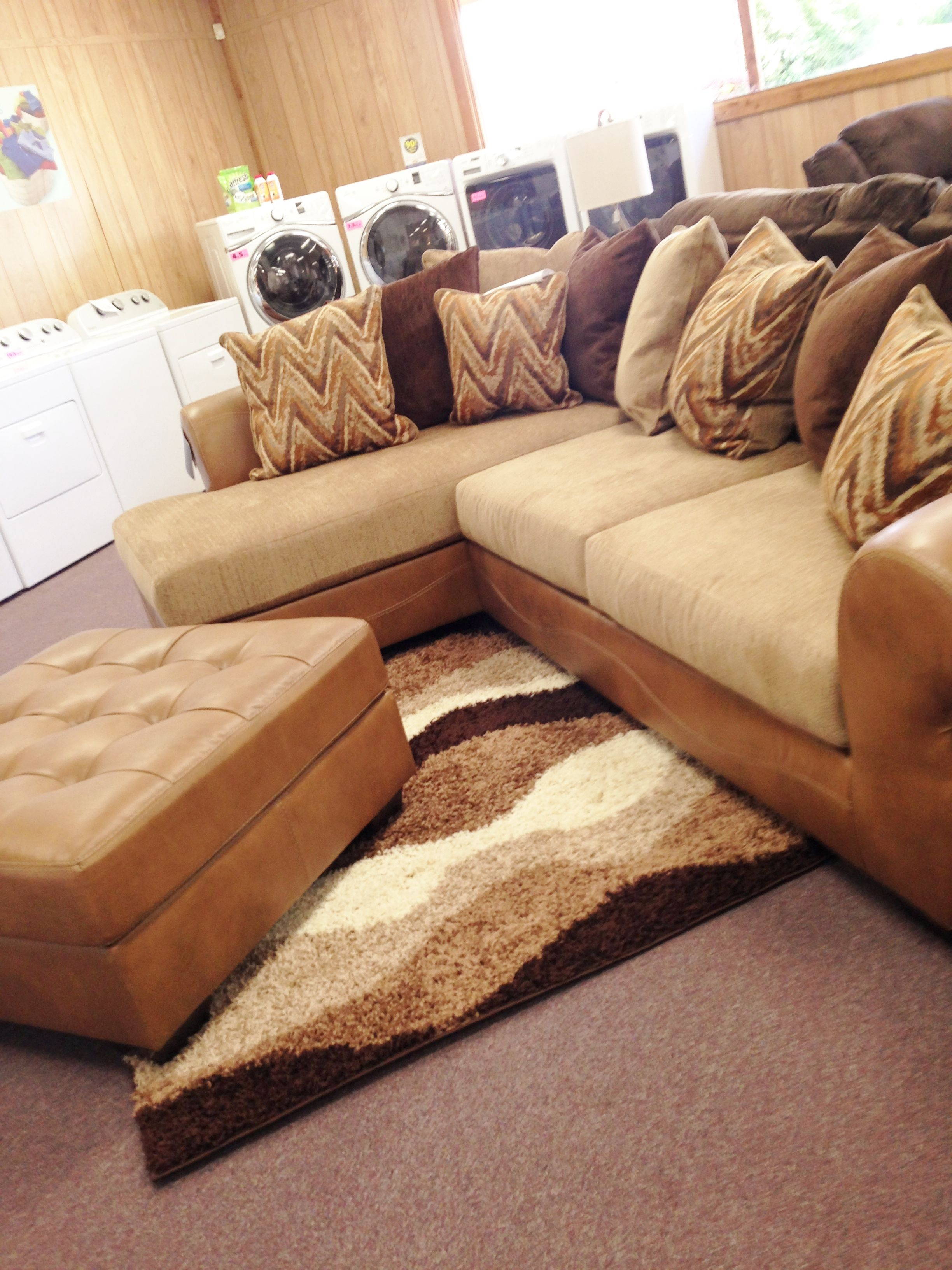 Lovely Declain Sand Sectional with matching ottoman ON SALE