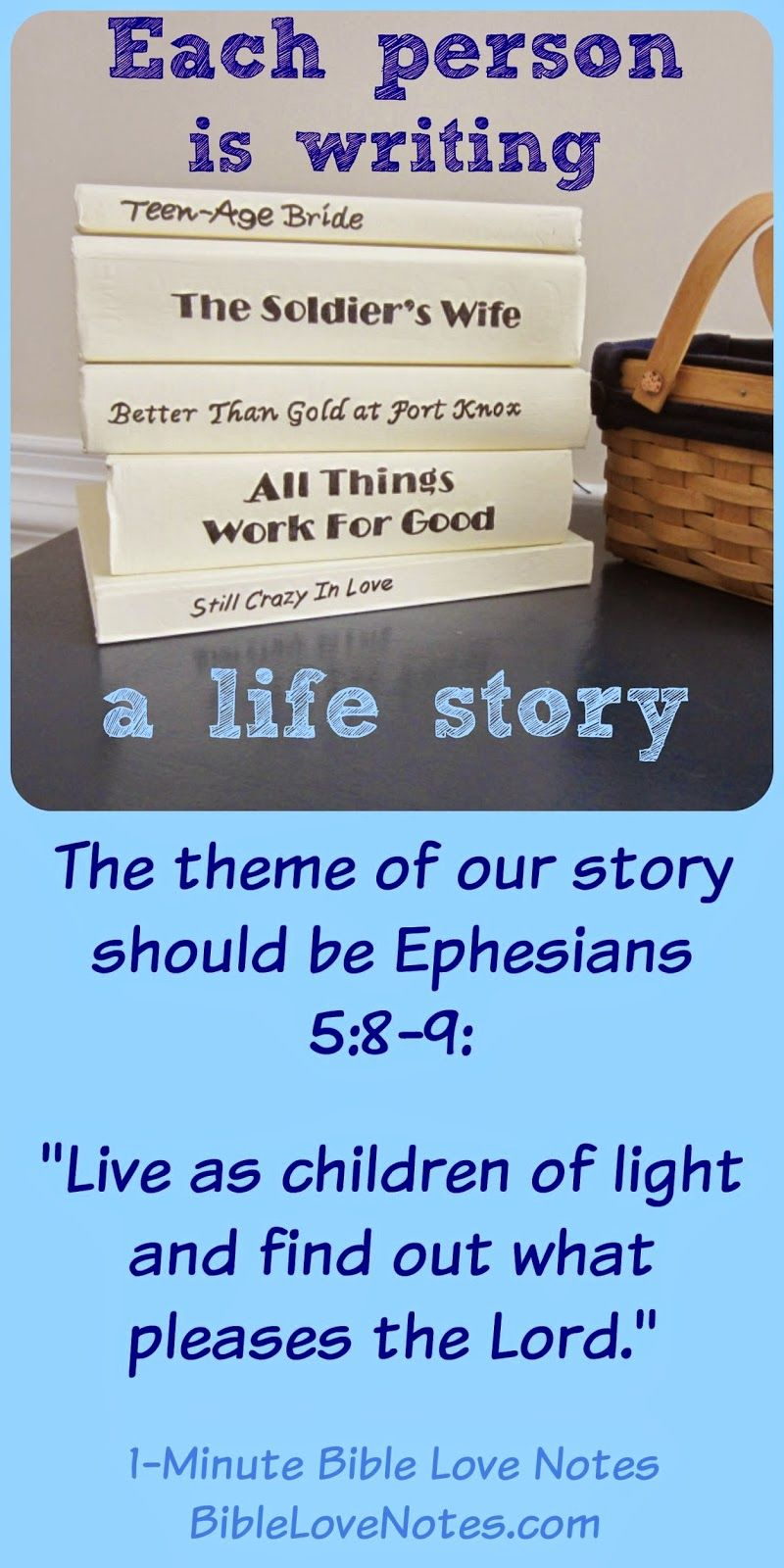 Do you realize that you are writing your life story? That ...