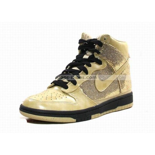 nike High Tops Women | Nike Dunks Skinny Sequin Gold High Tops Shoes For  Womens