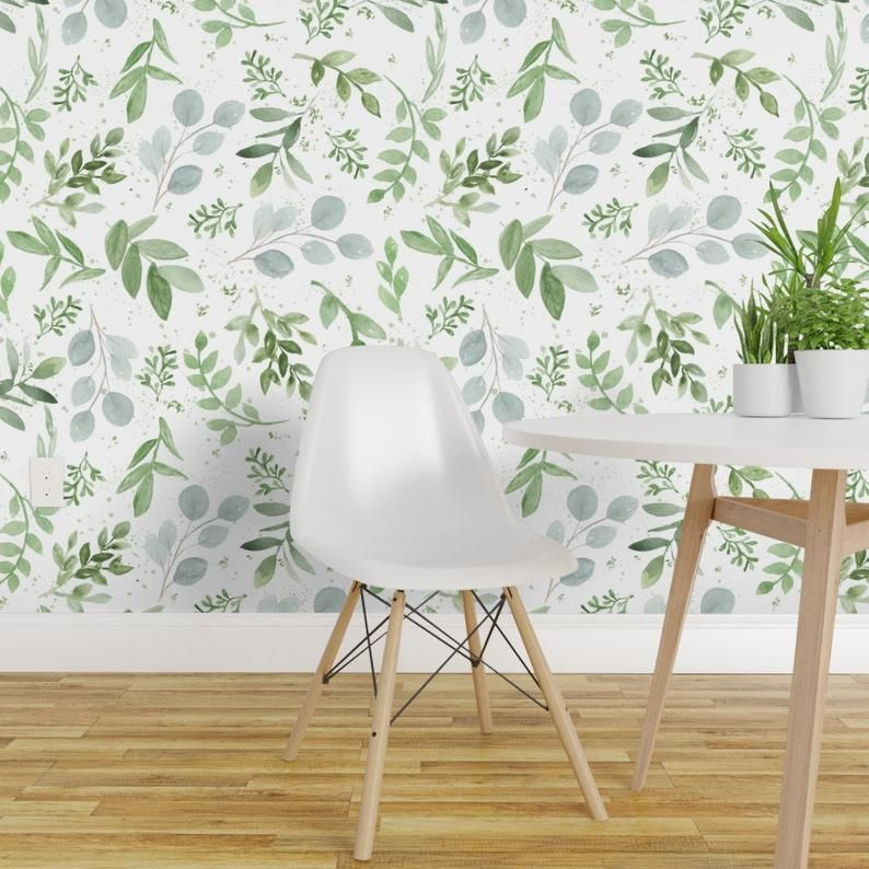 Eucalyptus Wallpaper Watercolor Larger Leaves By Daily Etsy Peel And Stick Wallpaper Removable Wallpaper Decor