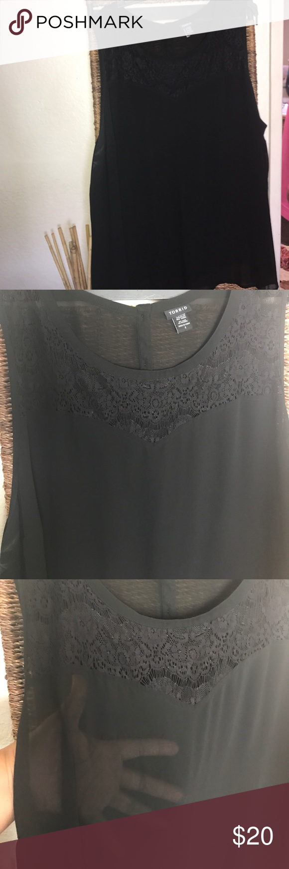 Sheer sleeveless top w/lace accents Sheer sleeveless top w/lace accents torrid Tops Tunics