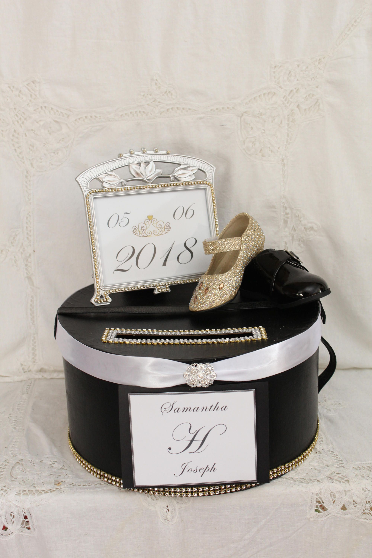 Gold And Black Card Box Black Wedding Card Holder Elegant Wedding